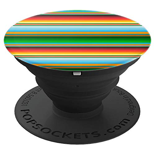 Mexican Serape Horizontal Lines Colorful Pattern Gifts PopSockets Grip and Stand for Phones and Tablets