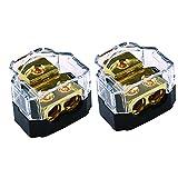 ZOOKOTO 2 Way Power Distribution Block for Car Audio Splitter,1 X 0/2/4 Gauge in / 2 X 4/8 Gauge Out 2PCS Gold