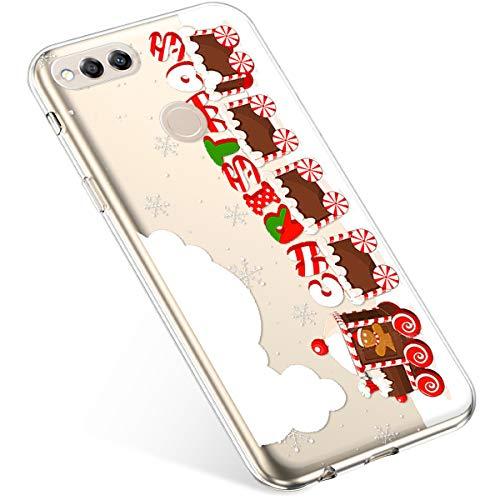 Uposao Kompatibel mit Handyhülle Weihnachten Huawei Honor 7X TPU Silikon Schutzhülle Weich Transparent Kristall Klar Dünn Handyhülle Backcover TPU Bumper Case Handytasche,Zug