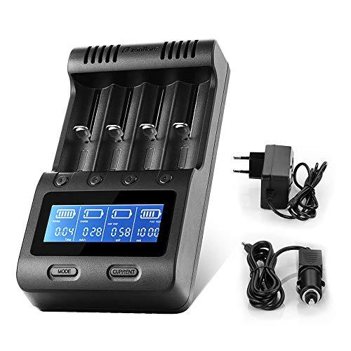 Zanflare Cargador C4 Inteligente, Pantalla LCD Cargador de Batería, Tenga recuperación de baterias dañadas y para Baterías Recargables Ni-MH Ni-CD A AA AAA, Li-Ion 18650