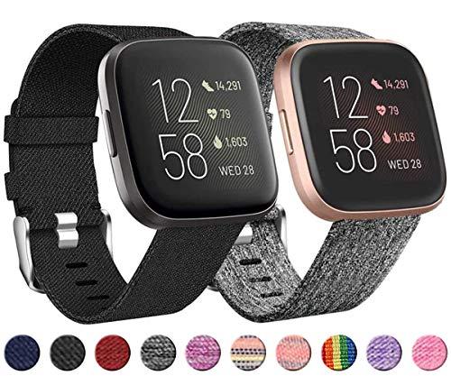 Wepro 2 Pack Armband für Fitbit Versa/Fitbit Versa 2/Fitbit Versa Lite für Frauen Männer, atmungsaktives Woven Uhrenarmband Verstellbares Ersatzarmband, Schwarz grau/Schwarz S