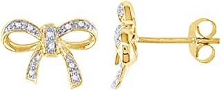 Round Cut White Natural Diamond Accent Bow Stud Earrings In 14K Gold Over Sterling Silver