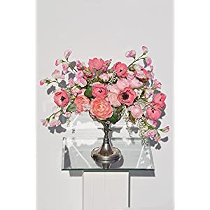 Vintage Real Touch Roses, Peonies & Anemones Floral Arrangement