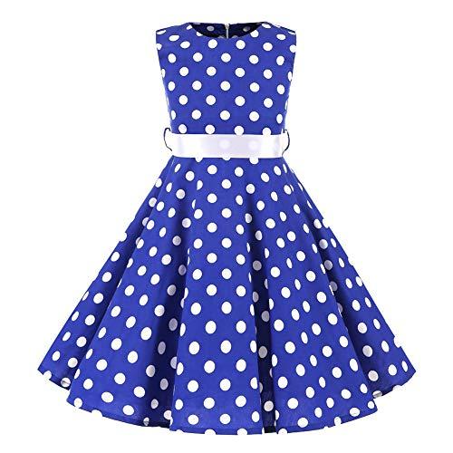 SXSHUN Mädchen Retro Vintage Rockabilly Kleid Partykleider Cocktailkleider Im 50er-Jahre-Stil, Blau + Weiß Punkt, 122/128 (Etikettengröße:130)