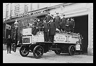 Buyenlarge 19577-0P2030 New York City Firemen posed on a Fire Engine 20x30 poster by Buyenlarge