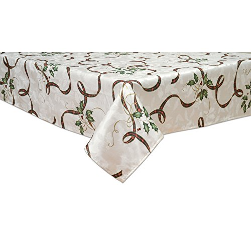 Lenox 7276102OBLMLT Holiday Nouveau Ribbon 60-by 102-Inch Oblong Tablecloth, 60' x 102', White