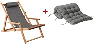 LSX--Lounge Chair Solid Color Simple Overall Gray with Cushions Foldable Solid Wood Chair Home Single Recliner Beech Wood Recliner Outdoor Chair Old Man Recliner Beach Chair, 2 Styles Indoor
