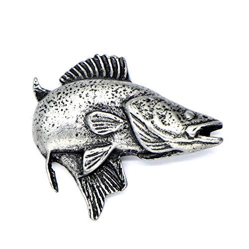 Zander Fisch-Pik Perch Die Stecknadel aus Zinn am Revers Die Brosche das Abzeichen das Accessoires für die Liebhaber der Tiere Jagd und Angeln Geschenk für Männer und Frauen