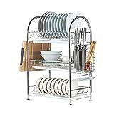 LIPENLI Stoviglie Rack 3-Tier in acciaio inox Stendino Piatto, Cucina cassetto organizzatore con 3 vassoi di scarico, 16.5''X11.2''X26 ''
