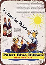 Collectible Wall Art 8 x 12 inches tin sign-1935 Pabst Blue Ribbon Beer and Ale Metal Tin Sign 8X12 Inches-Decorative Retro Home Coffee Bar Sign, 12 X 8 inches