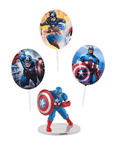 Générique - Kit de Decoration Marvel Captain America pour Gateau d'Anniversaire - Pâtisserie - 425