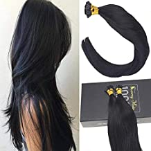 Sunny 16Inch Jet Black #1 Remy I Tip Stick Human Hair Extensions 50 Strands Fusion Hair Extensions with Salon Style
