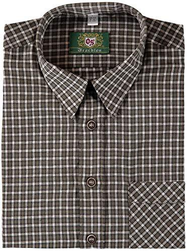 OS Trachten® Jagdliches Trachtenhemd Herren oefele.de Passform: Regular Fit mit 1 Brusttasche und Kentkragen aus 100% Baumwolle Outdoorhemd Jagdhemd Langarm (43/44)