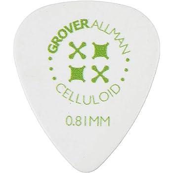 Grover Allman 【グローバーオールマン】 ギターピック Celluloid, White, Standard, 0.81mm 10枚