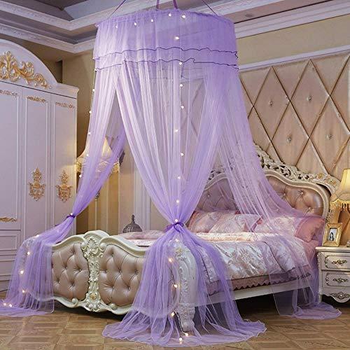 Página de inicio grandes y elegantes mosquiteros para el verano colgante niño ropa de cama redonda cúpula cama toldo cortina tienda de cama con luz de noche