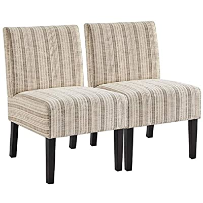YAHEETECH Armless Accent Chair Fabric Living Room Chairs Contemporary Single Sofa with Solid Rubberwood Legs