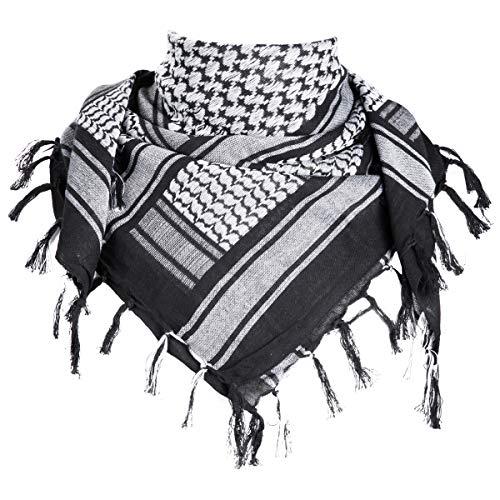 FREE SOLDIER Halstuch/Kopftuch Shemagh,100% Baumwolle Palituch Taktischer Schal Arabischer Wüsten Schals Unisex dreieckstuch,110 * 110cm,Schwarz grau