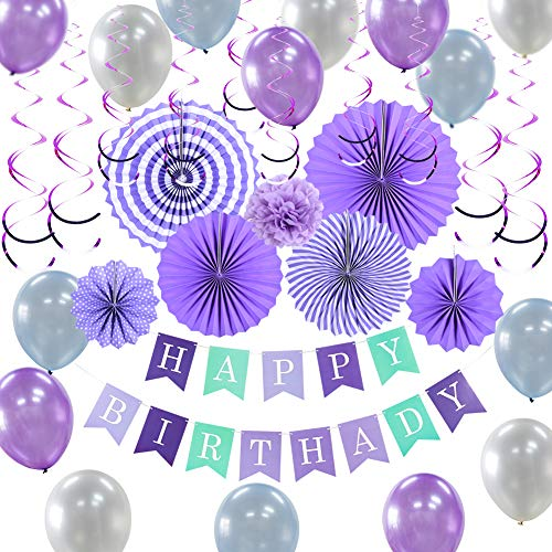 PAPER JAZZ Purple Mermaid Birthday Party Supplies Kit with Pom Poms Flowers Happy Birthday Banner Hanging Swirls and Balloons for Wedding Baby Shower Bridal Shower