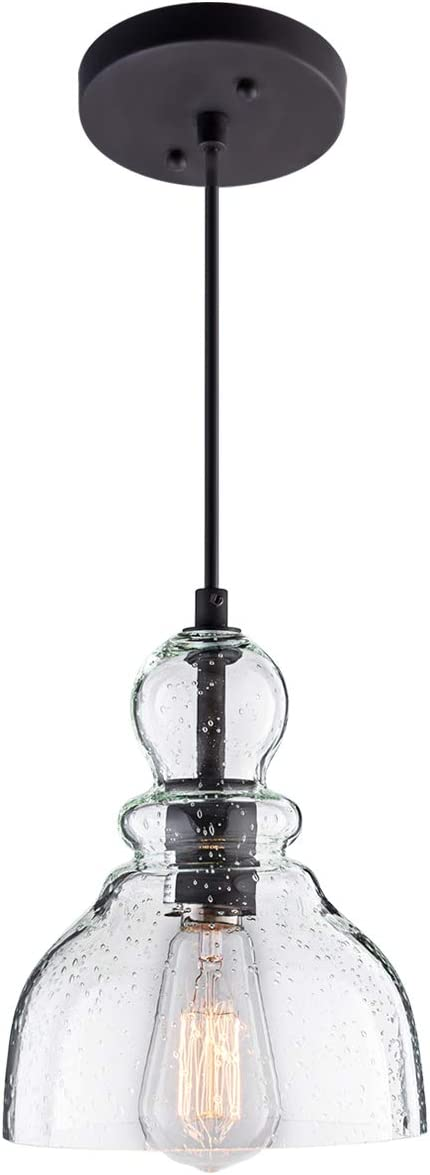 Lanros Industrial Mini Pendant Lighting With Handblown Clear Seeded Glass Shade Adjustable Cord Farmhouse Lamp Ceiling Pendant Light Fixture For Kitchen Island Restaurant Kitchen Sink Black 1 Pack Amazon Com