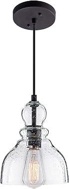 LANROS Industrial Mini Pendant Lighting with Handblown Clear Seeded Glass Shade, Adjustable Cord Farmhouse Lamp Ceiling Penda