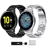LORDSON Metal Bands Compatible with Samsung Galaxy Watch Active 2 40mm 44mm/ Active/Galaxy Watch 3 41mm, 2-Pack 20mm Solid Stainless Steel Watch Band Replacement Wristband Strap Bracelet Women Man