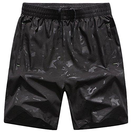 LEOCLOTHO Herren Sommer Tarnen Shorts Schnelltrocknend Kurze Hose Sport Joggen Bermuda Freizeithose Schwarz M