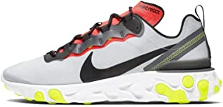 Nike Men's React Element 55 SE Running Shoes (Pure Platinum/Black-Dark Grey