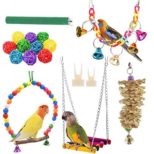 Sunshine smile Vogelspielzeug,Papageien Spielzeug Kauspielzeug,Bunten Vogelspielzeug,Vögel Spielzeug, Vogel Papagei,Schaukel Glöckchen Swing Spielzeug,Bird Toys for Parrot Swing (A)