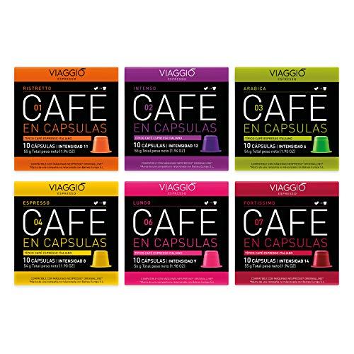 Viaggio Espresso Cápsulas de café compatibles con máquinas Nespresso Selección sin descafeinado (60 Cápsulas)