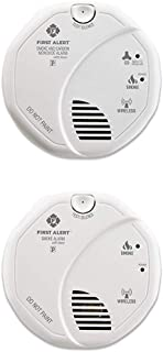 First Alert Battery Operated Combination Smoke and Carbon Monoxide Alarm with Voice Location and Smoke Detector Alarm | Battery Powered with Wireless Interconnect | 2-Pack