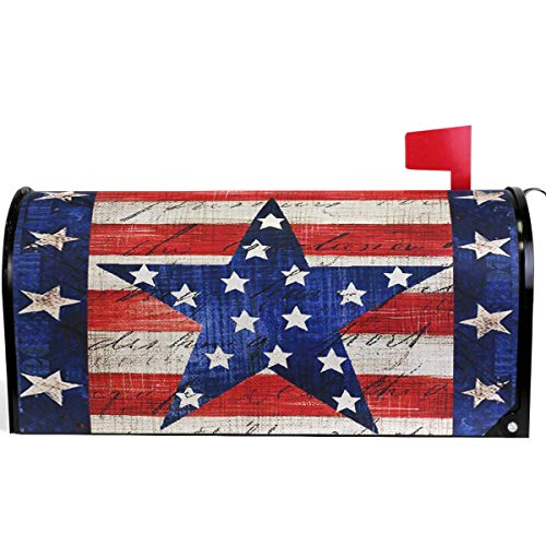 Wamika American Memorial Independence Day Patriotic Eagle Star Mailbox Cover Magnetic Standard Size,Spring 4th of July Letter Post Box Cover Wrap Decoration Welcome Home Garden Outdoor 21