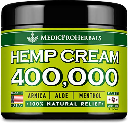 Pain Relief Hemp Cream 400,000 | 4oz - Hemp Extract Cream for Inflammation & Sore Muscles - Natural Joint, Arthritis & Back Pain Support - Made in USA - Arnica, MSM, Turmeric - Best for Skin Health