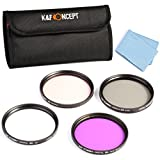 K&F Concept® 52mm Tapa de Lente 4 Piezas UV (Filtro Ultravioleta) CPL FLD y Warm para Nikon D5200 D5300 D3300 D5100 DSLR Cámaras D3100 D3200 +paño de Liempieza de microfibras+ 4 Ranura Filtro Bolsa