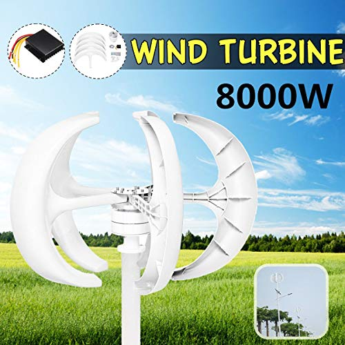 TQ 8000W Vertikale Windkraftanlagen Generator Laterne, 12V 24V 5 Blades Motor Kit für Home Hybrids Straßenbeleuchtung Verwenden Elektromagnetische,12v