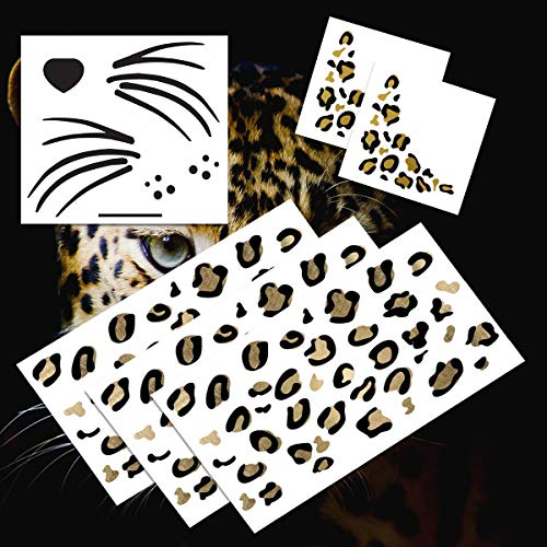 Leopard Face Temporary Tattoo Pack (Black & Gold)   Halloween Costume Tattoo Kit   Skin-Safe   MADE IN USA   Removable