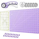 Rotary Cutter Set Lavender - Quilting Kit incl. 45mm Rotary Cutter, 5 Replacement Blades, A3 Cutting Mat, Acrylic Ruler and Craft Clips - Ideal for Crafting, Sewing, Patchworking, Crochet & Knitting
