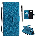 Hancda Hülle für Samsung Galaxy Note 8 Hülle Leder Flip Case, Schutzhülle Ledertasche Handyhüllen Cover Magnet Dünn Geldbörse Taschen Stoßfest Handytasche für Samsung Galaxy Note 8,Blume Blau