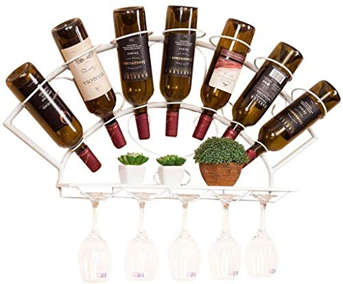 IAIZI Muur Mount Metalen Stemware Racks Opknoping Wijnfles Houder IJzer Wijnglas Opslag Eenheid Drijvende Planken Goblet Organisator-Houdt 7 Flessen En 10 Glazen