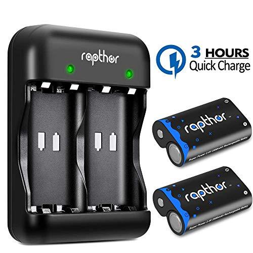 Rapthor Paquete de baterías Xbox One 2x2500mAh Batería recargable y cargador, 3H Carga rápida para Xbox One / Xbox One S / Xbox One Controlador inalámbrico Xbox One Elite (batería y cargador, negro)