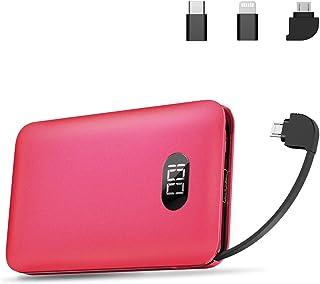 モバイルバッテリー Mini 大容量 10000mAh PSE認証済 ケーブル内蔵 携帯充電器 コンパクト 薄型 軽量 2.1A急速充電 スマホ充電器 二台同時充電でき LEDデジタル画面 iOS/Android/Type-C 全機種対応 旅行/外出/災害など最適 lcsriya (レッド)