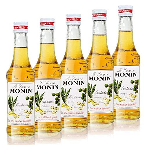 5x Monin Macadamia Sirup, 250 ml Flasche