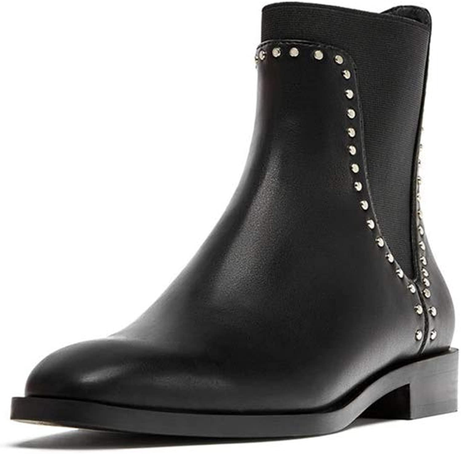 MINIKATA Women Casual Rivets shoes Patent Leather Flat Slip On Ankle Boots Martin Boots