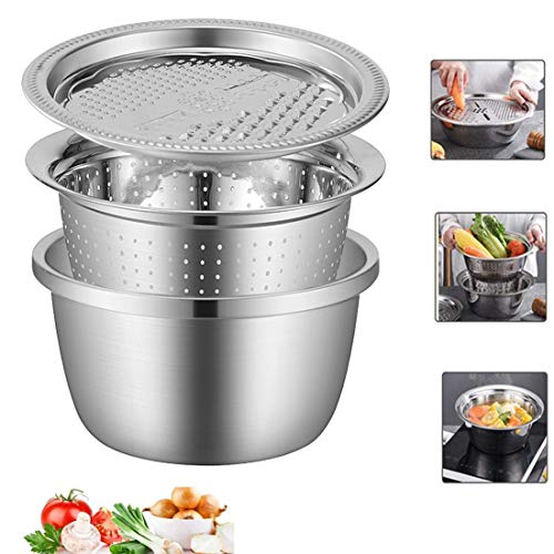 Graters for Kitchen Kitchenware Stainless Steel Multifunction Grating Basin Set Rice Sieve Drain Basin Three-Piece Suit,Silver