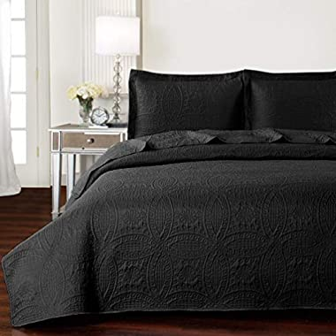 Mellanni Bedspread Coverlet Set Black - BEST QUALITY Comforter Oversized 3-Piece Quilt Set (Full/Queen, Black)