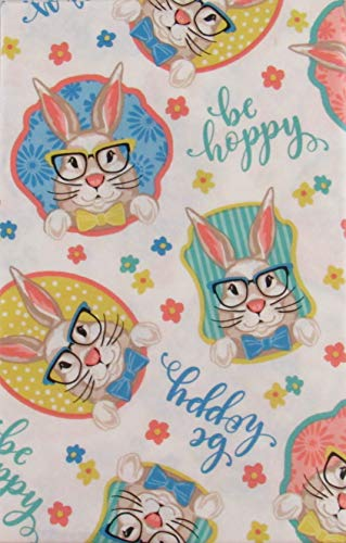 "Hoppy Easter Be Hoppy Funny Bunnies Vinyl Flannel Back Tablecloth (52"" x 90"" Oblong)"