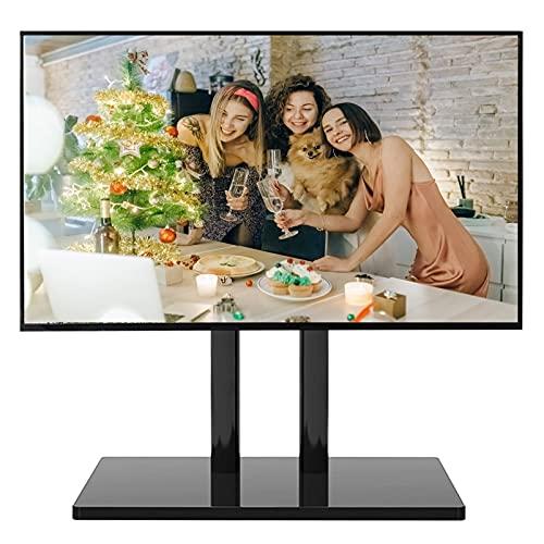 Soporte TV Trole Soporte de Mesa para TV de 32/40/43/55/60/65 Pulgadas, Soporte Universal para TV de Metal Negro para Dormitorio Sala de Estar, Altura Ajustable de 4 Niveles