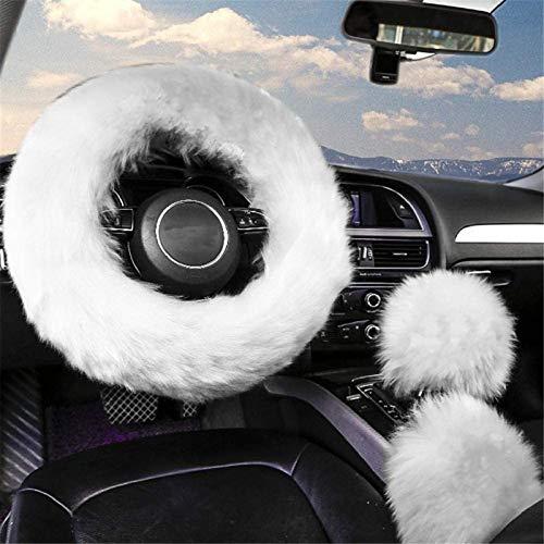 8. ZWZCYZ 3Pcs Fuzzy White Steering Wheel Cover