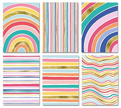 Blank Cards with Envelopes - 48 Striped Gold Foil Blank Note Cards with Envelopes – 6 Assorted Cards for All Occasions! Blank Notecards Stationary Set for Personalized Greeting Cards-4x5.5'