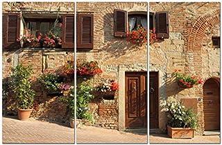 Canvas Wall Art Decor - 12x24 3 Piece Set (Total 24x36 inch)- European City Street - Decorative & Modern Multi Panel Split Canvas Prints for Dining & Living Room, Kitchen, Bedroom, Bathroom & Office [並行輸入品]