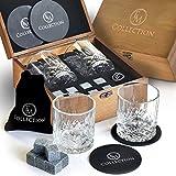 Whiskey Stones Gift Set - 8 Granite Whiskey Rocks Reusable Chilling Stones and 2 Crystal Bourbon Whiskey Glasses in Wooden Box - Whiskey Birthday Gift Set For Him, Men, Dad, Husband, Boyfriend, Boss